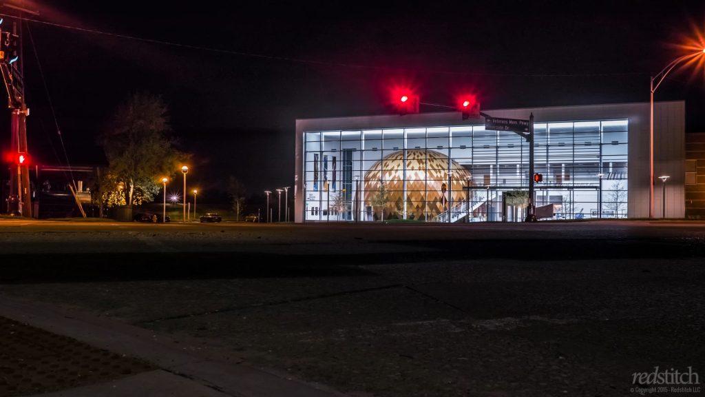 Evansville Museum at night